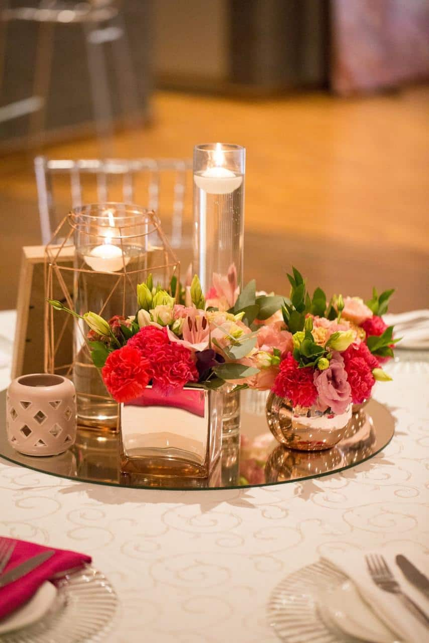 Centre piece with flowers and candles