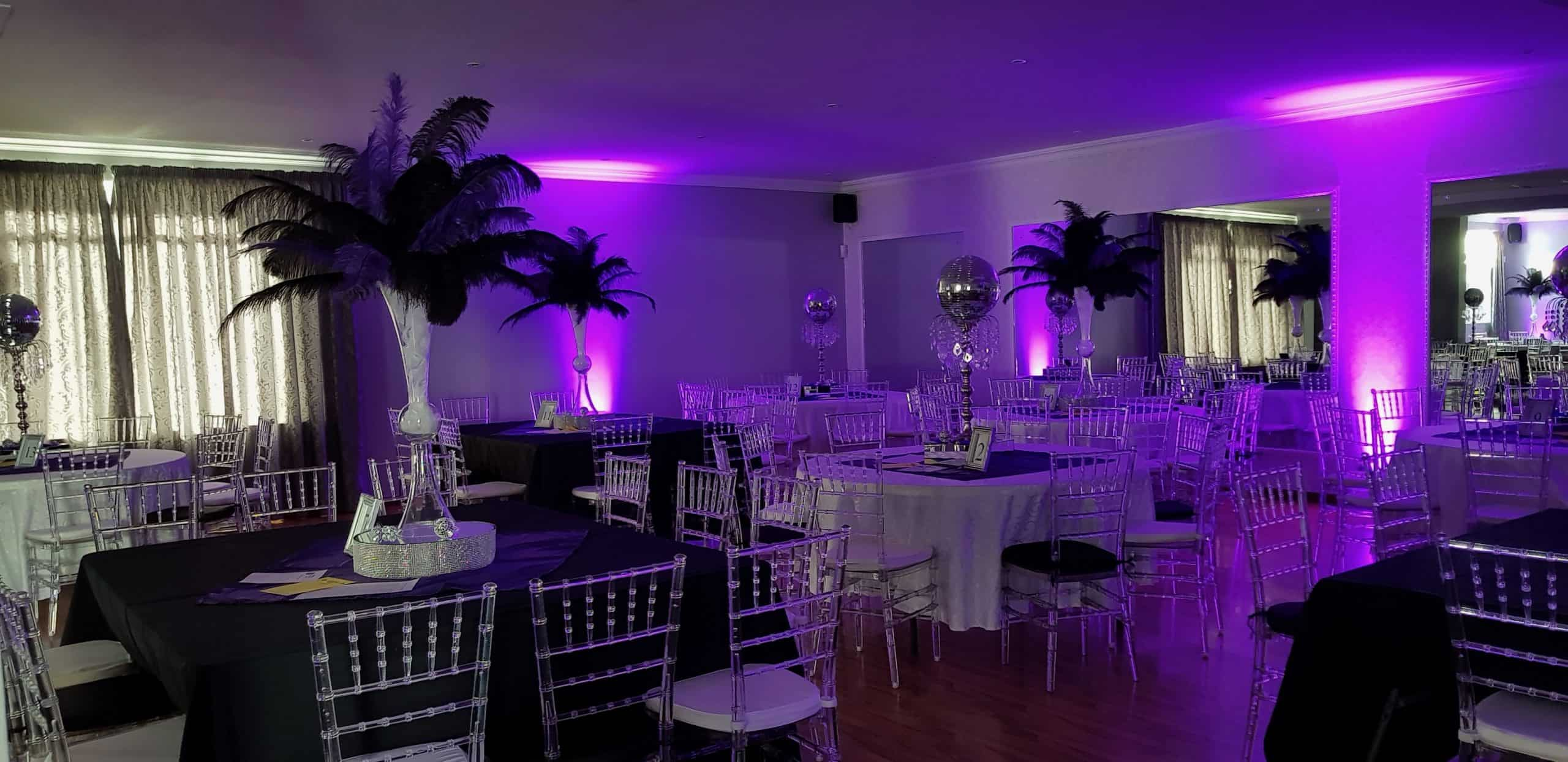 Purple lights on event venue scaled