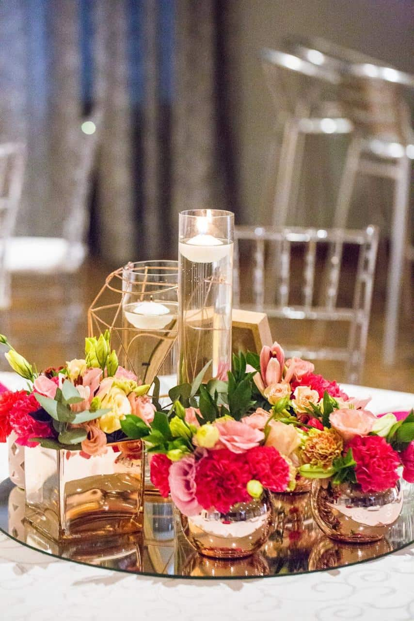center piece with candle and mirror