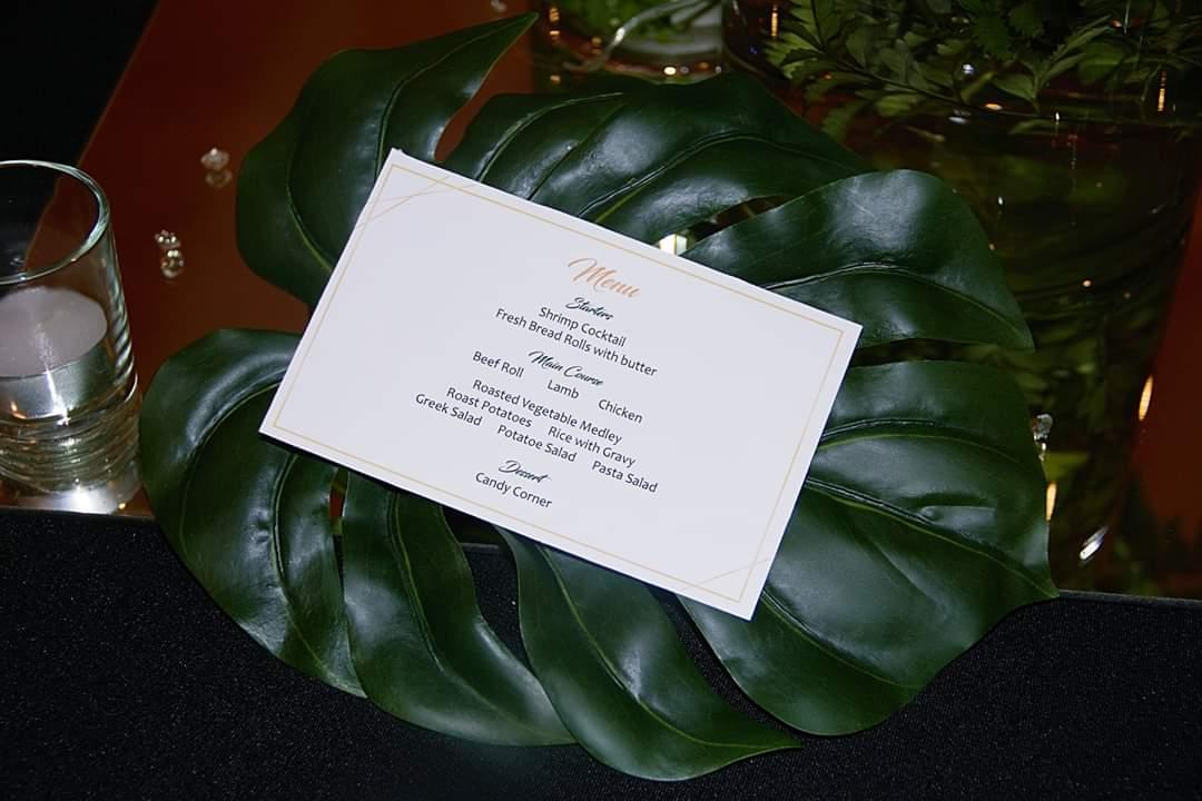 conference menu on leaf