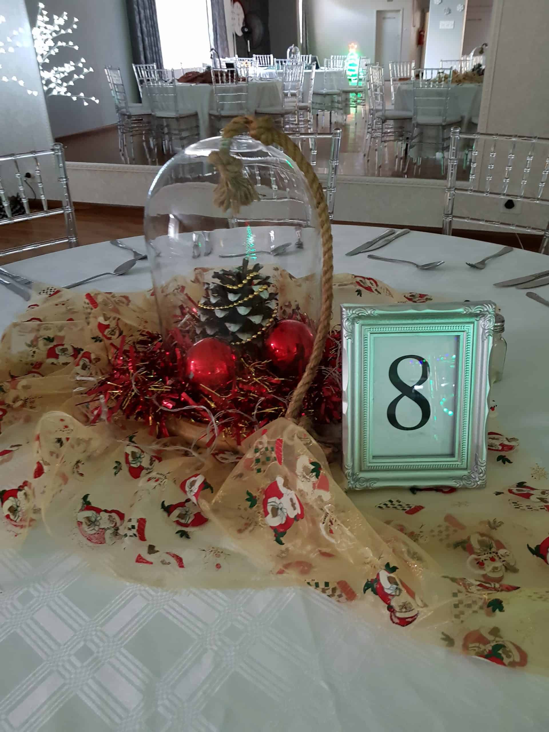 end of year function centre piece with santa scaled