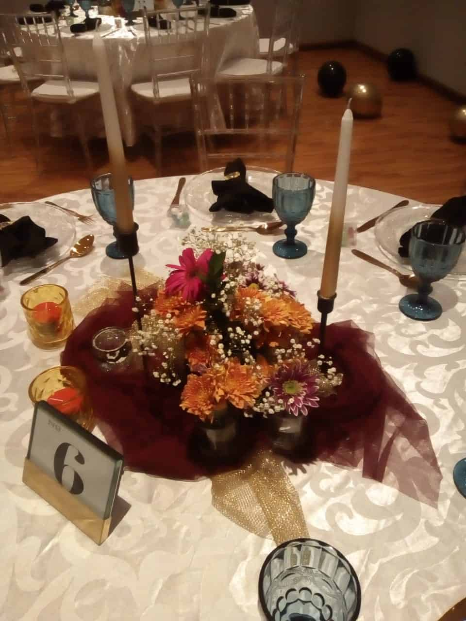 puple and yellow flower center pieces