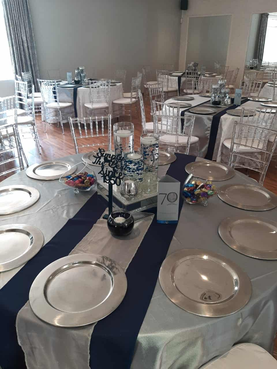 silver plates and black and silver overlay with centre piece