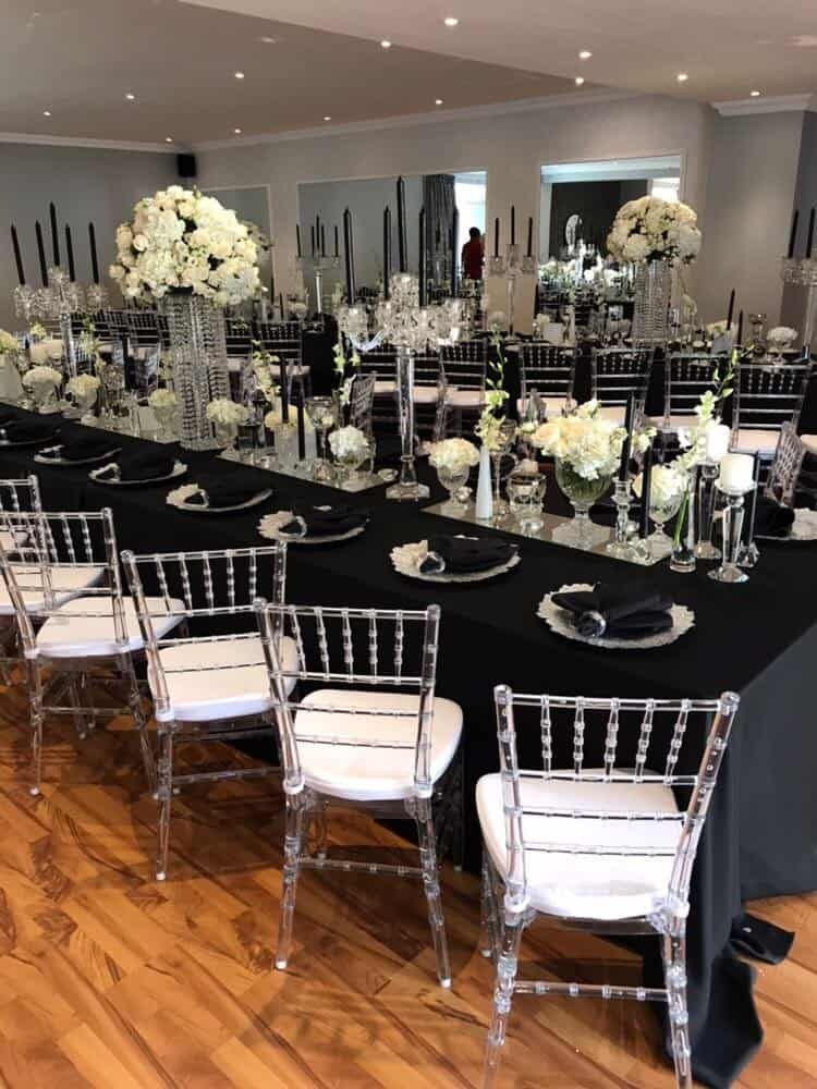 tiffany chairs with white pillows and black overlay