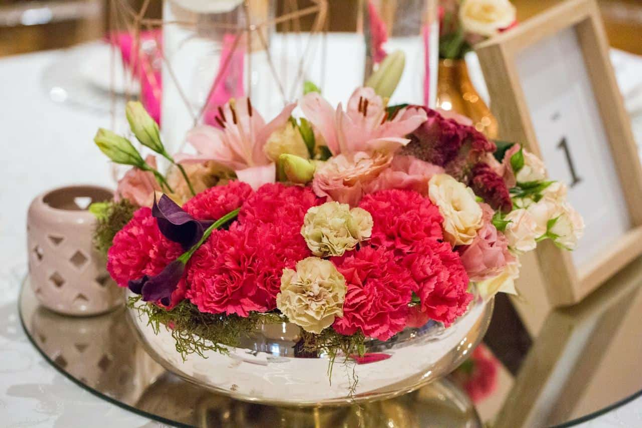 vibrant flowers with a table number